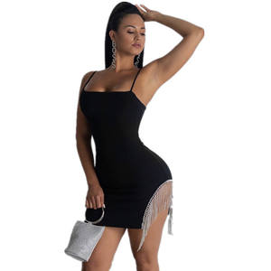 Fashion New Sexy Women Strap Black Dress Tassels Patchwork Chain Short Pencil Dress Party Formal Asymmetrical Hem Backless Dress