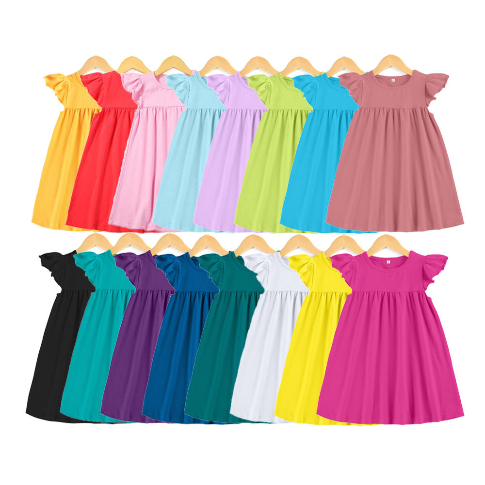 Wholesale baby girl dresses summer girls dresses boutique cotton dress in stock no moq rts