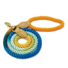 Wholesale Rope Dog Leash Custom Gradient Colors Cotton Dog Leash Leather Handmade Braided Rope leashes