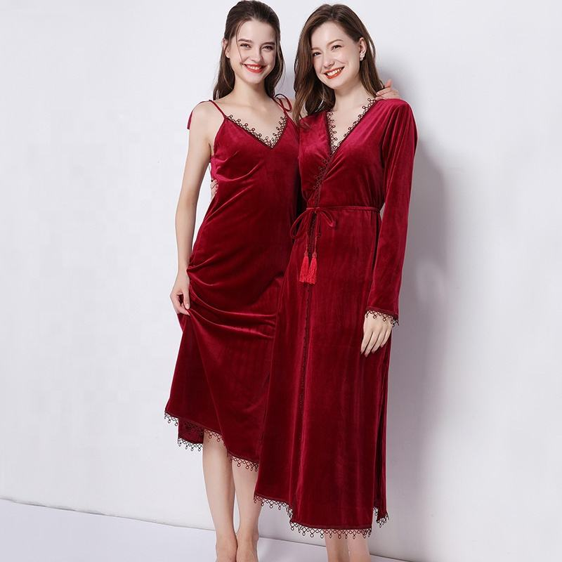 Wholesales Luxury Bridesmaid Long Dressing Gown Women's Robe For Wedding Bride Gift