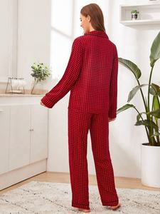wholesale comfy Button-up Red Rayon night home wear pajama PJ Set