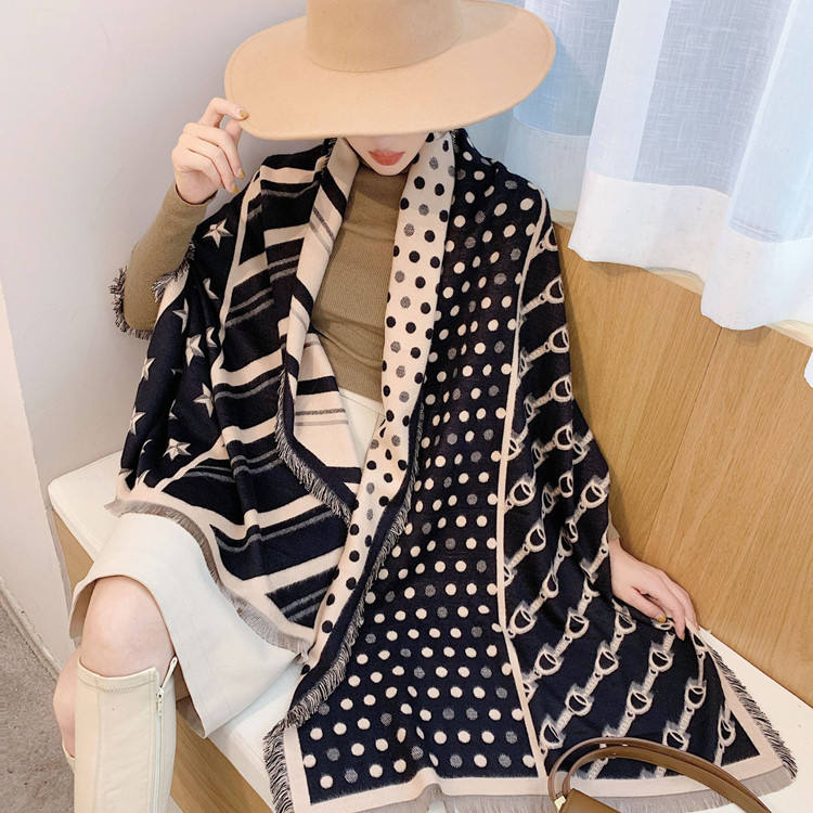 2019 New Arrival Fashion Women Winter Star Pattern Acrylic Cashmere Scarf With Dot Warm Thick Double Sided Shawl