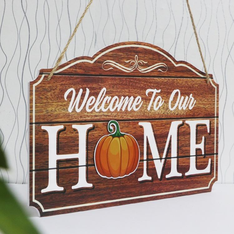 custom printing Wooden hanging welcome sign for front door decor
