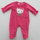 Baby Velour Romper With Feet Fancy Sleeve Cuff Picot On Feet