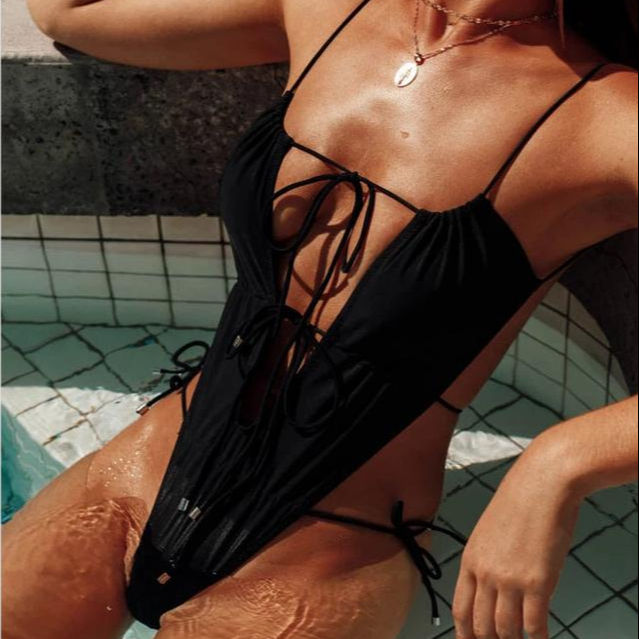 2020 Bulk stocks wholesale sexy women plain black color lace-up cut out hollow tight Swimsuit
