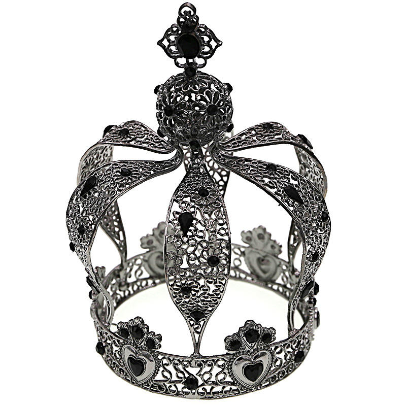 European Cake Decoration Crown King Retro Baking Decoration Castle Black Headwear Baroque Crown
