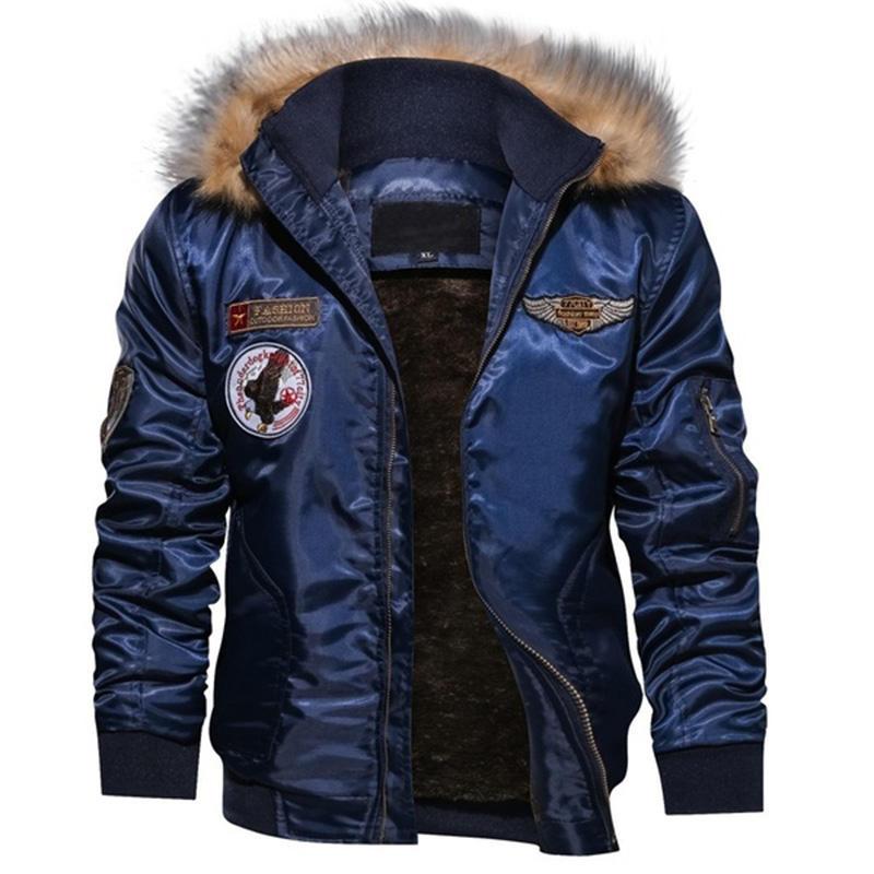 Winter Jackets Mens Military Army Flight Custom Bomber Jackets Windbreaker Hooded Fleece Lined Warm Coats & Jackets