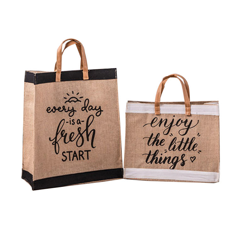 OEM manufacturer customized black white eco friendly printing tote jute bag