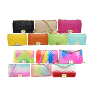 Wholesale Woman Handbags Silicone/PVC Rainbow Shoulder Crossbody Bags Colorful Jelly Candy Purse
