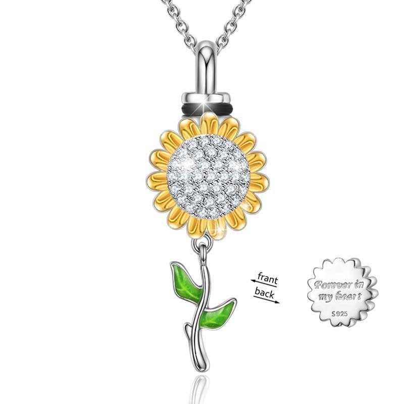 Fashion Men Statement Necklace 925 Sterling Silver Sunflower Urn Design Pendant Chain Necklace Jewelry For Women