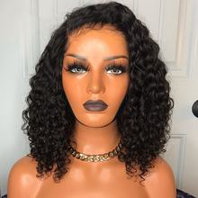 Glueless Short Curly Bob Virgin Brazilian Human Hair HD lace Lace Front Wig With Baby Hair