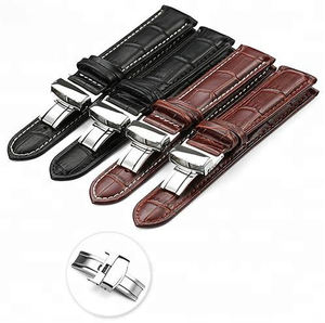 ZONESIN Bulk Men Butterfly Clasp Buckle Watch Band Strap 24mm
