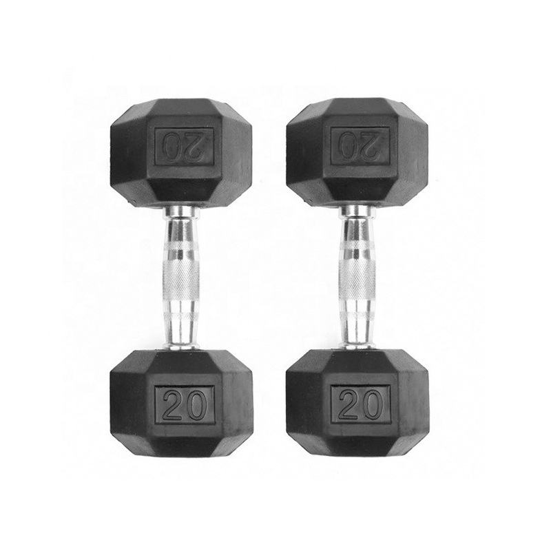 Weight Lfiting Fitness Gym Basic Equipment Rubber Coated Dumbbell Hex set
