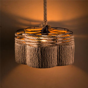 European Style Elegant Ins Hot Villa Industrial Style Rope Woven LIving Room Lighting Pendant Lamp Rope