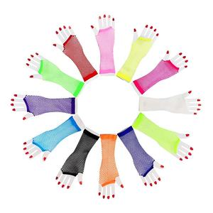 Novelty Place Neon Gloves Fingerless Diva Fishnet Wrist Gloves Assorted Neon Colors (12 Pairs)