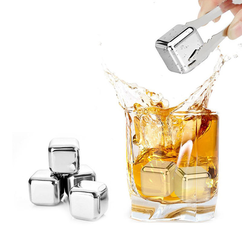 Amazon Hot Selling 304 Stainless Steel Reusable Ice Cubes Chilling Stones Luxury Whiskey Stone Sets