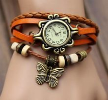2019 classic Vintage Quartz Leather Braided Butterfly Charm Lady Watch Women Wrist Watch