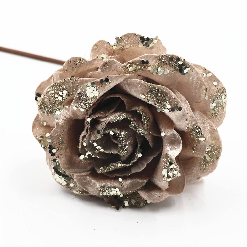 Artificial flower head Christmas flower rose curly petal rose with glitter