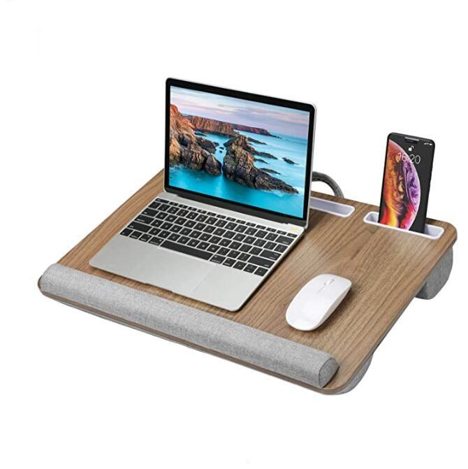 100% Natural bamboo laptop stand Portable phone stand Table Tray with Pillow Lap Desk Laptop stand for bed bamboo Computer