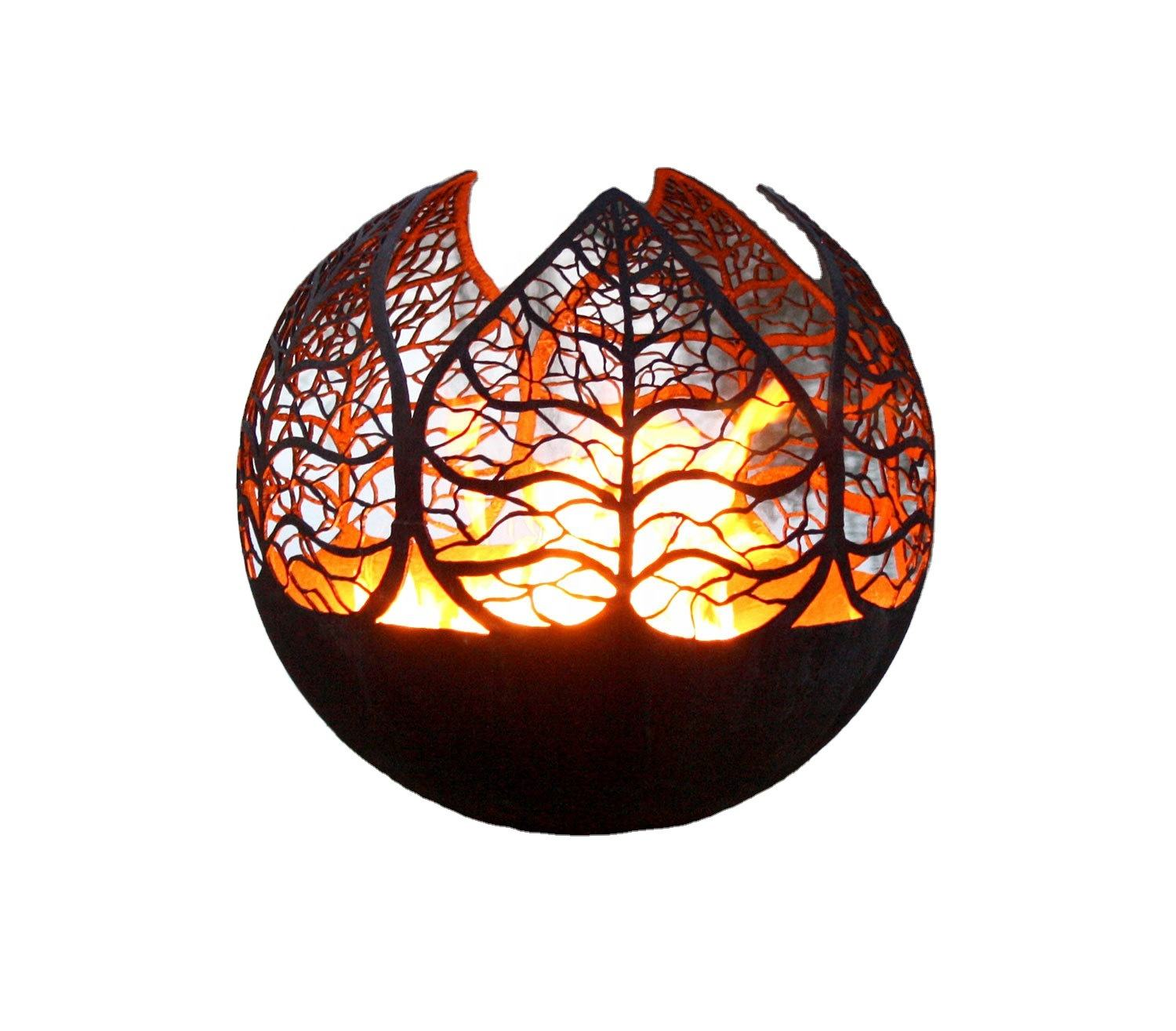 Autaumn leaves 29 inch metal ball fire pit for garden