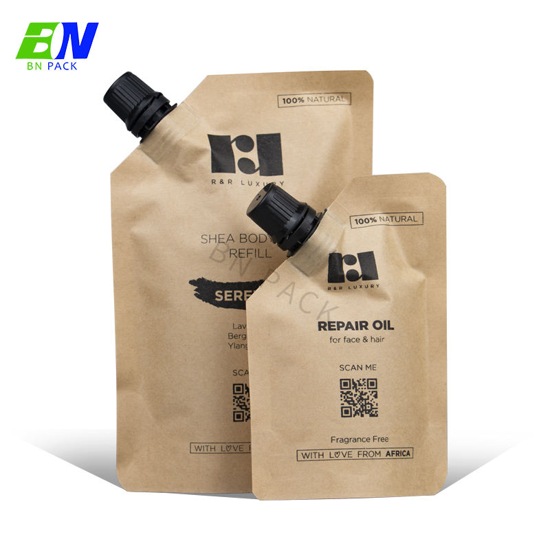 custom refillable plastic packaging 35ml shampoo pouch Eco friendly spout bag Kraft paper