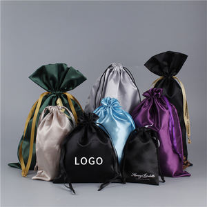 Wholesale Customized Small Dust Silk Satin Bag Hair Wig Extension Black Drawstring Satin Pouch with Logo Printing