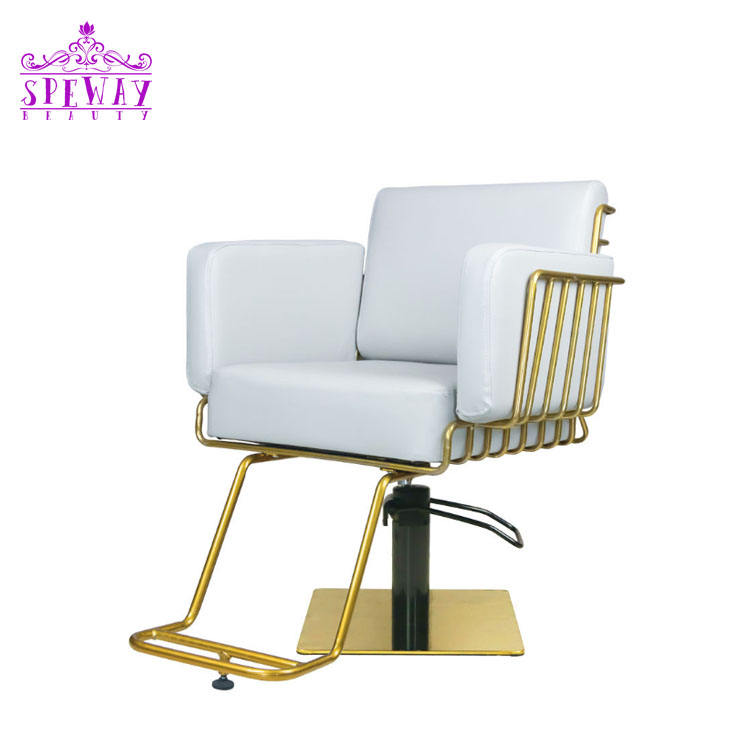 2021 simple golden salon furnitures barber chairs hairdressing chairs for sale