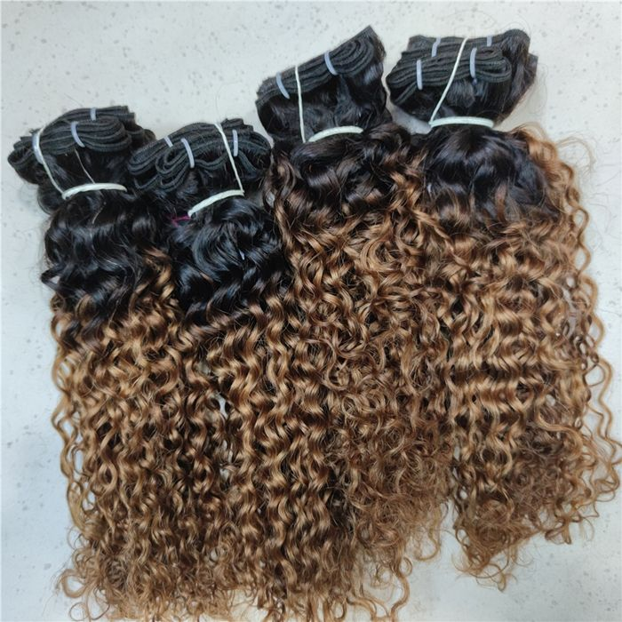 Wholesale italy deep curly Style and african Human Hair Material brazilian cheap hair 2 tones ombre hair extension free ship