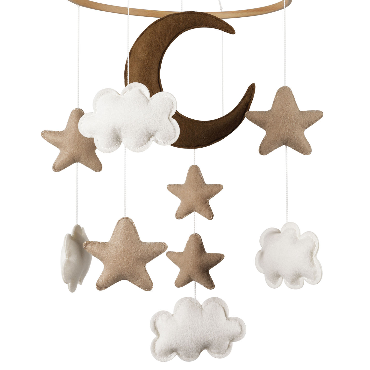boho nordic toys baby shower party supplies nursery prop night sky moon star cot ceiling wooden ring felt baby mobile