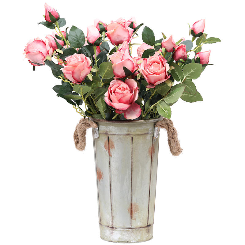 Luyue Artificial Bulgaria Roses Flowers Cute Silk White Rose Flowers Wedding Decoration Party Supplies Artificial Flower