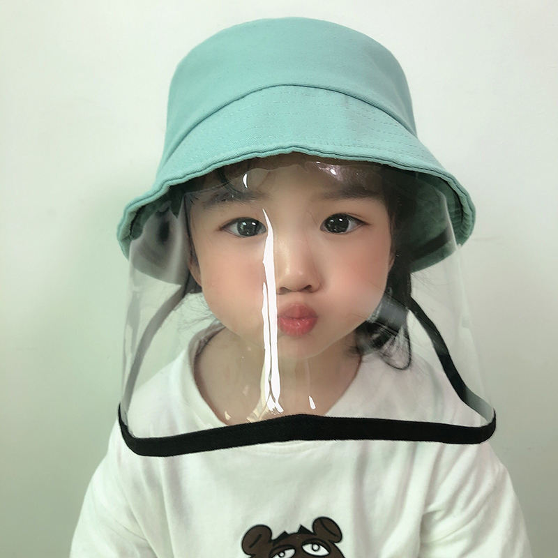 Anti-spitting Anti-dust Kids Protection Bucket Hat With Face Shield