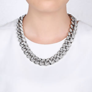 Zinc Alloy sliver Link Chain jewelry Fashionable Men Diamond Rhinestone sliver necklace
