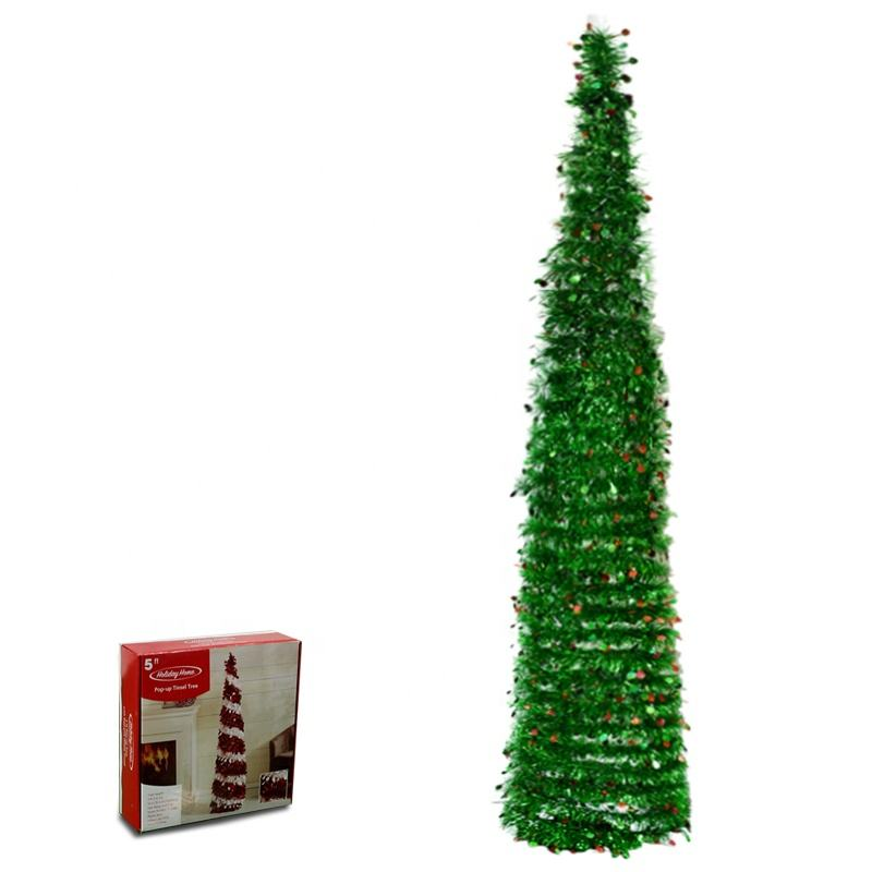 5ft pop up christmas tree folding christmas tree tinsel green color with small baubles