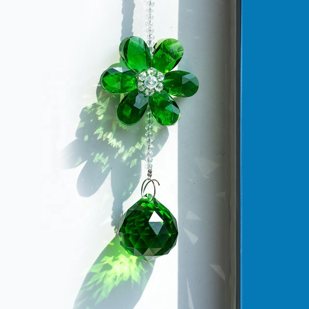 Colorful Chandelier Flower Crystal Pendant Faceted Ball Pendant Crystal Hanging decorations Ornaments Crystal Door Hanging