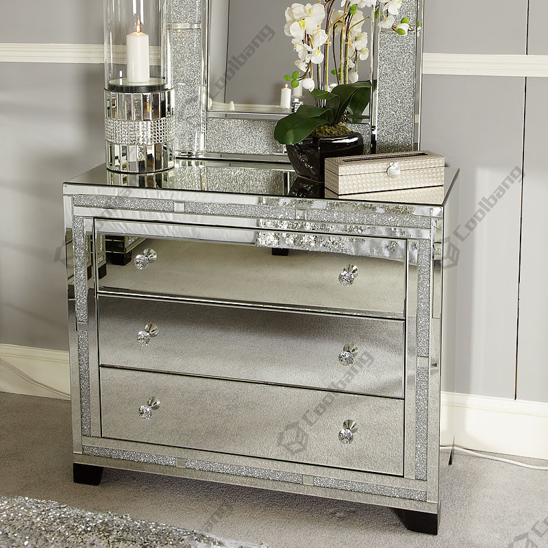 Sparkly Verpletterd Diamant Mirrored Dressoir/Commode