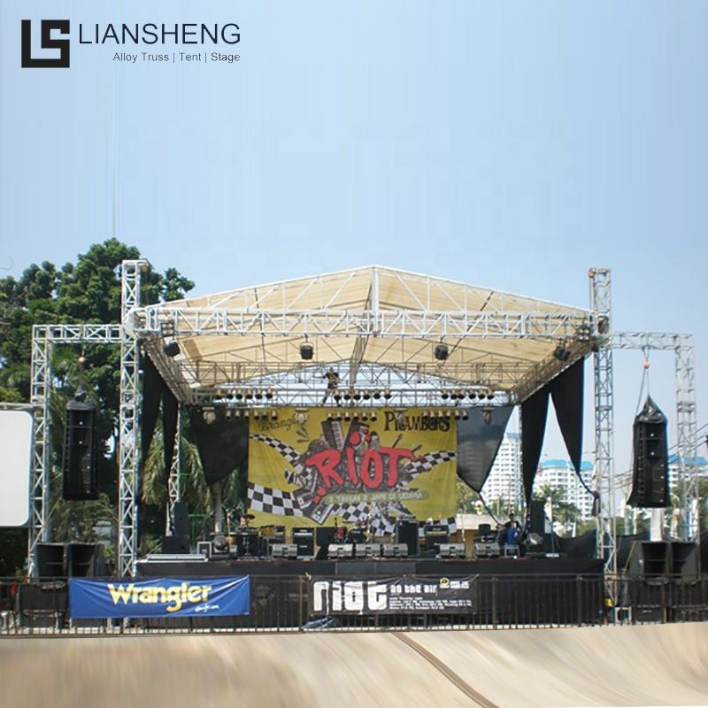 Outdoor Concert Stage Platform With A Shaped Roof Truss System