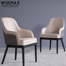 Nordic Style High Quality Solid Wood Dining Chair Luxury Restaurant Pu Leather Upholstered Dining Chair With Wood leg