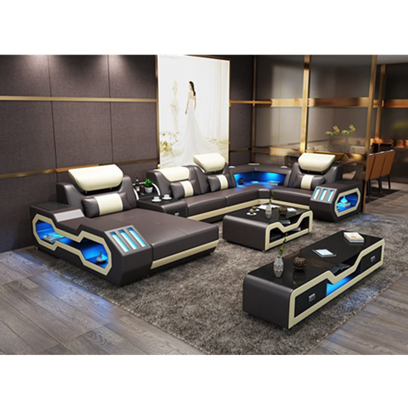 Modern living room furniture leather sofa set with LED