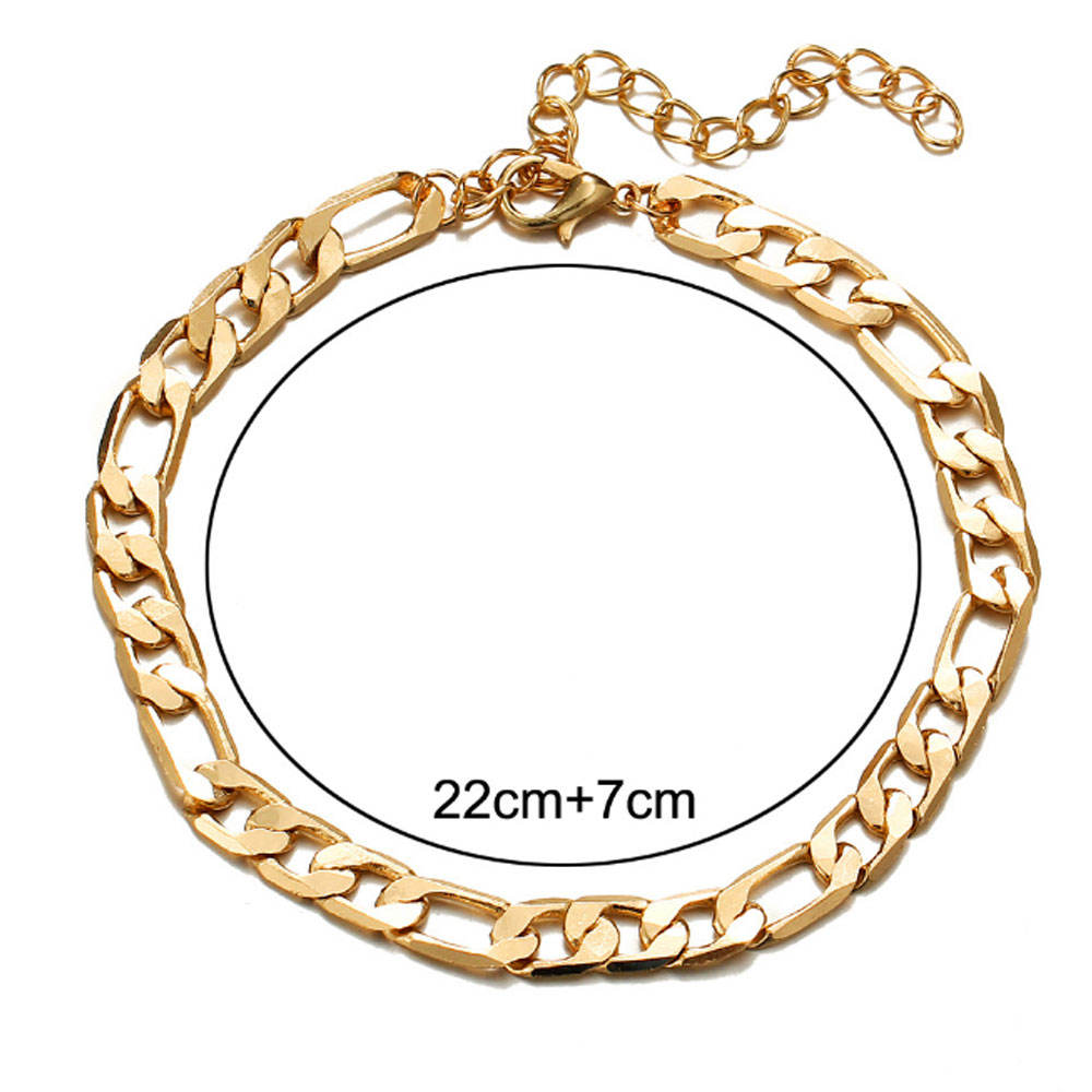 fashion gold and silver cuban classic chain anklet chain foot jewelry anklet bohemian