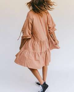 Holiday Casual oversized woman dress Spring Smock Lace Strings High Low Ruffle Linen Dress