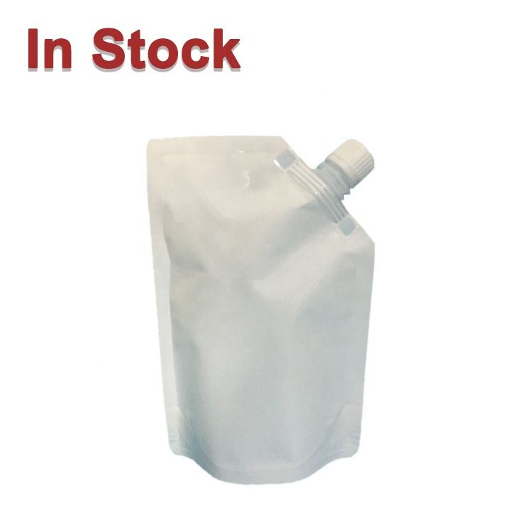White Plastic Stand Up Corner Spout Pouch Packaging In Stock