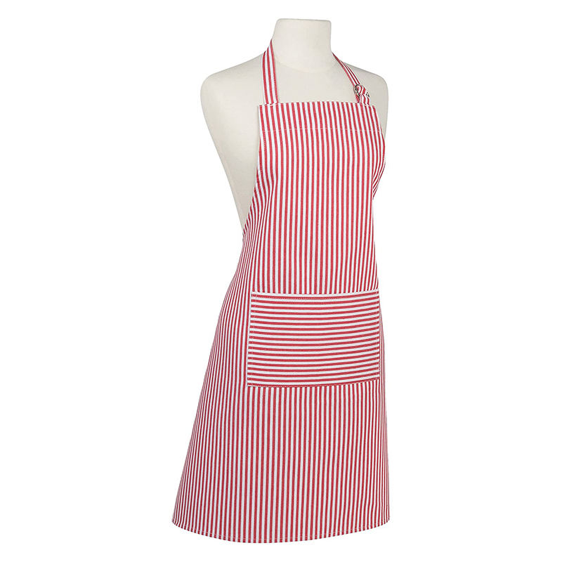 Adjustable Resistant Bib Apron Pink Stripe Cotton Cooking Kitchen Aprons For Women