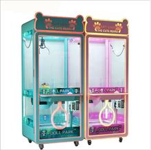 Latest hot sale cheap price coin operated mini doll vending toy push transparent crane claw machine