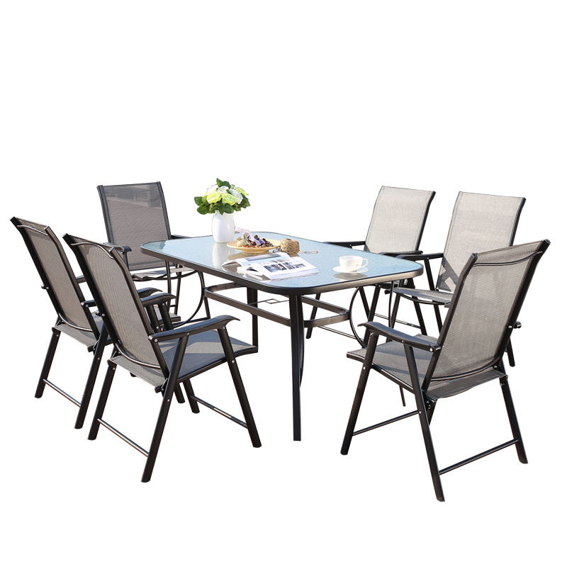 Outdoor Garden Furniture Sets Dining Folding Chair Rectangular Table 6Seater Table Garden Patio Folding Table 7Pcs Garden Set