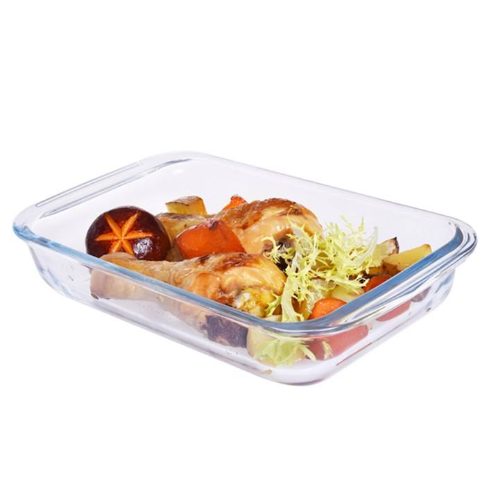Glass rectangle microwave safe tray cake baking pans