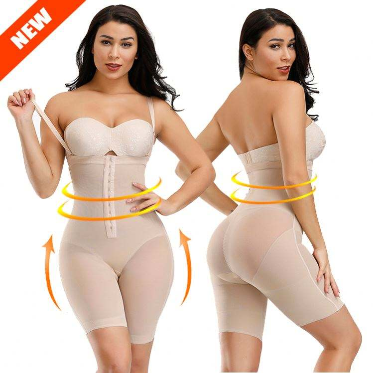 New Design Adjustable Hooks Compression High Waist Tummy Control Body Shaper Bodysuit Shapewear For Women Slimming