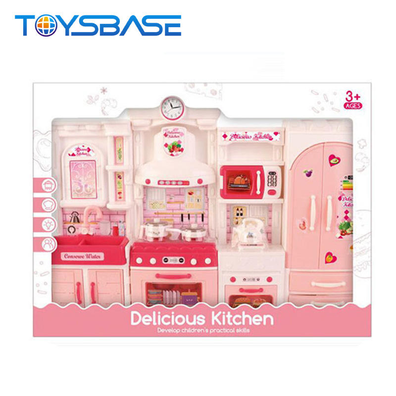2020 Wholesale Pretend Play Cooking Game Pink Kitchen Toy