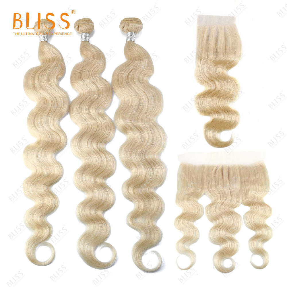 Bliss Color Hair 613 Blonde Body Wave 100% Virgin Remy Cuticle Aligned Malaysian Human Hair Bundles with Closure and Frontal