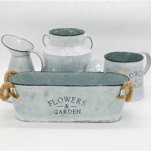 Vintage Christmas Decorative Tin Oval Mini Bucket Garden Planter Small Metal Galvanized Metal Planter Set