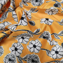 flower digital print silk fabric in plain 100%silk satin fabric for dress